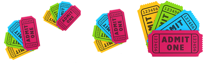 collection of tickets of different colours