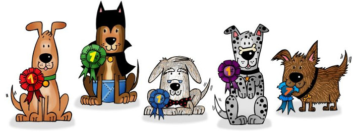 five dogs with rosettes